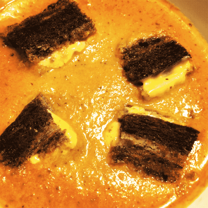 Instant Pot Tomato Soup with Grilled Cheese Croutons