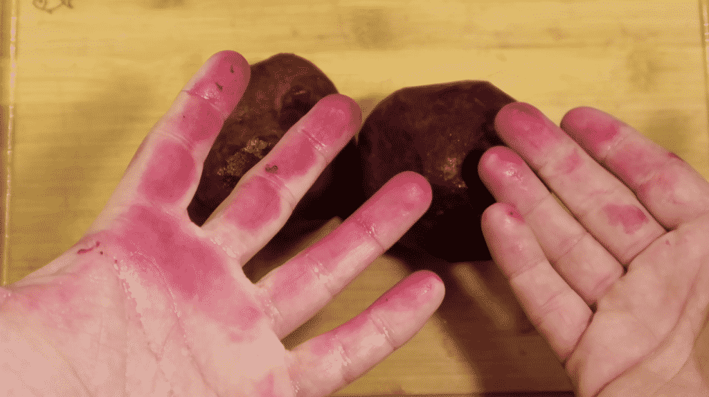 Beet-stained hands