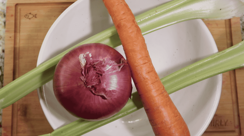 Red onion, carrot and celery