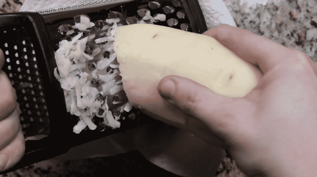 grating potatoes
