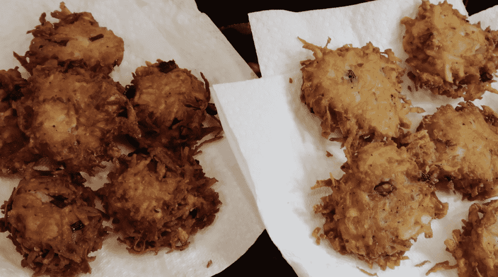 Showing completed latkes.