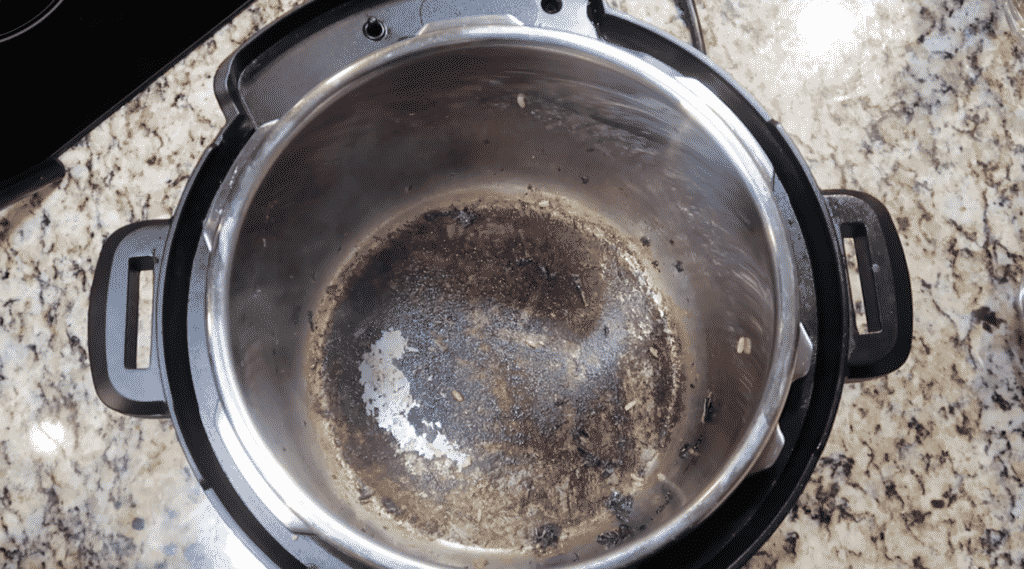 Showing browned bottom of the pot.