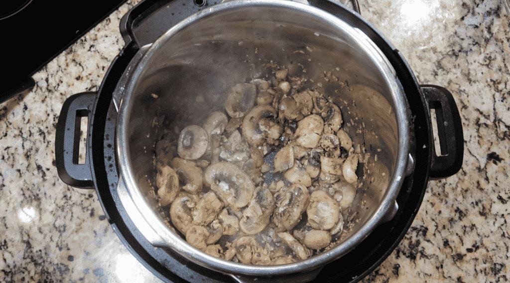 Sautéing mushrooms.