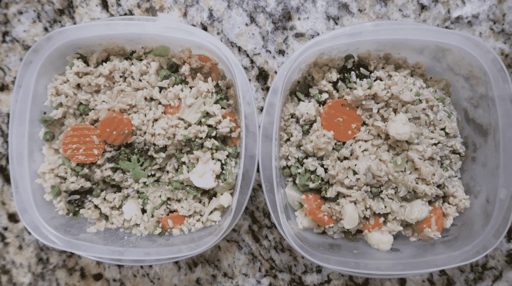Leftover food in tupperware