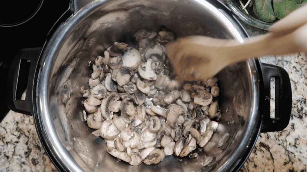 Sautéing mushrooms