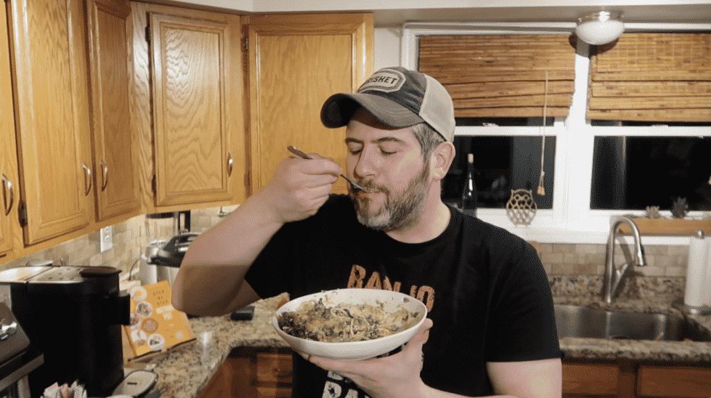 Man tasting food
