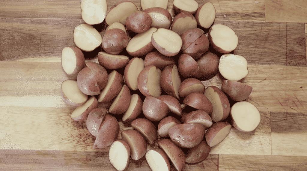 halved potatoes