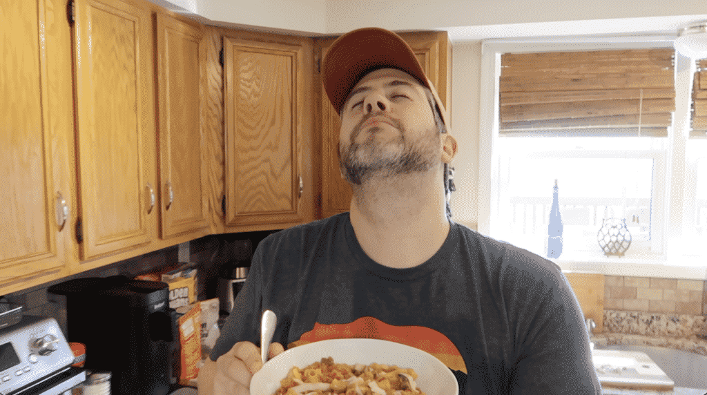 Man enjoying pasta