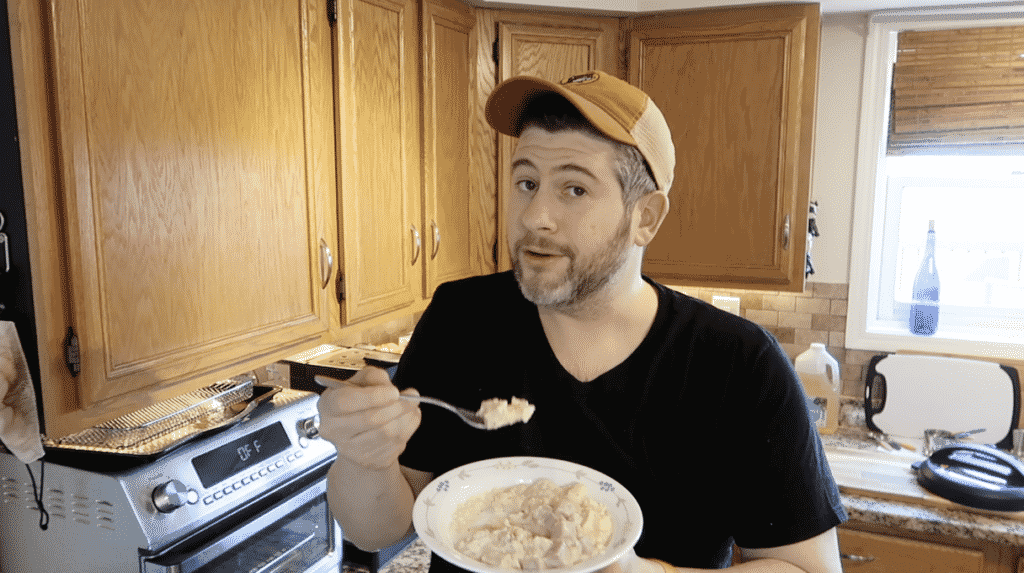 Man showing risotto