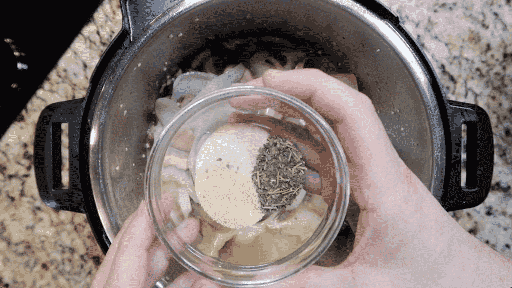 adding seasonings to pot