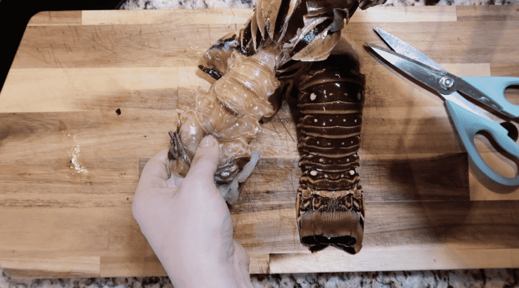 Removing lobster meat