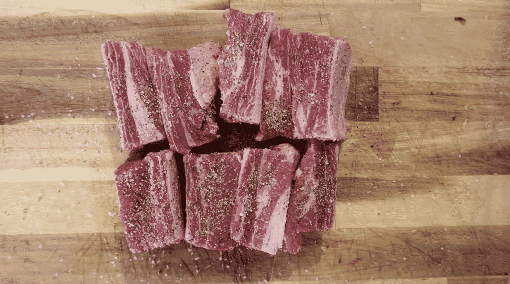 short ribs rubbed with salt and pepper