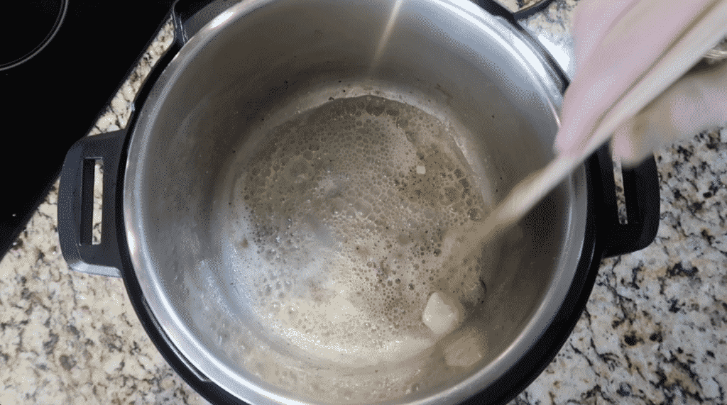 melted butter in pot