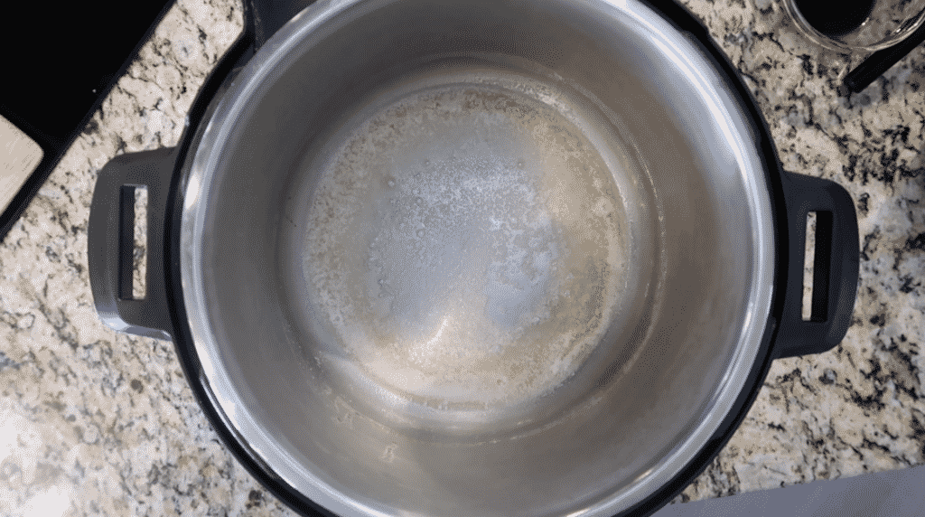Melted butter in pot.