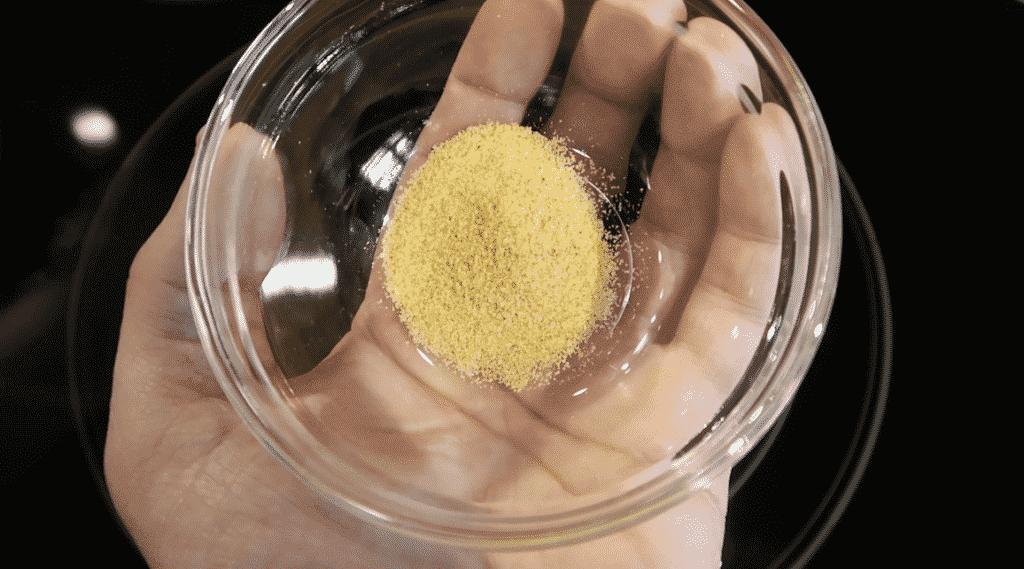 Adding seasoned salt to pot